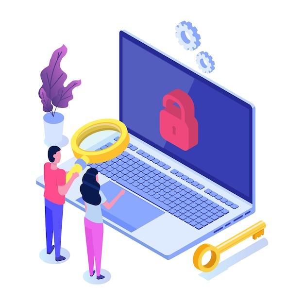Suche nach sicherheitslücken und fehlern, suche nach malware-konzept. Premium Vektoren