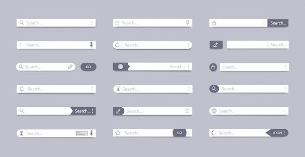 Suchleiste. adressensuchfeld, ui-navigation der schnittstellenleiste, webkonzept mit registerkarten-textfeldern, symbole für seitenelemente der mobilen leiste. vorlage für internet-browser-ui-suchfelder Premium Vektoren