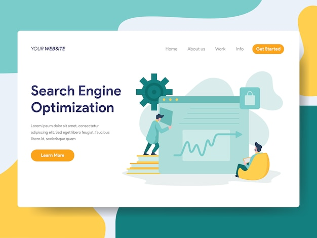 Suchmaschinenoptimierung für website-seite Premium Vektoren