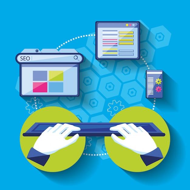 Suchmaschinenoptimierung mit den händen unter verwendung der tastatur Premium Vektoren
