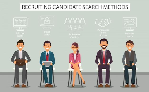 Suchmethoden für kandidaten für die suche nach einem flachen banner. Premium Vektoren