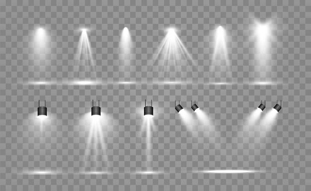 Suchscheinwerfersammlung für bühnenbeleuchtung, lichttransparente effekte. helle schöne beleuchtung mit scheinwerfern. Premium Vektoren