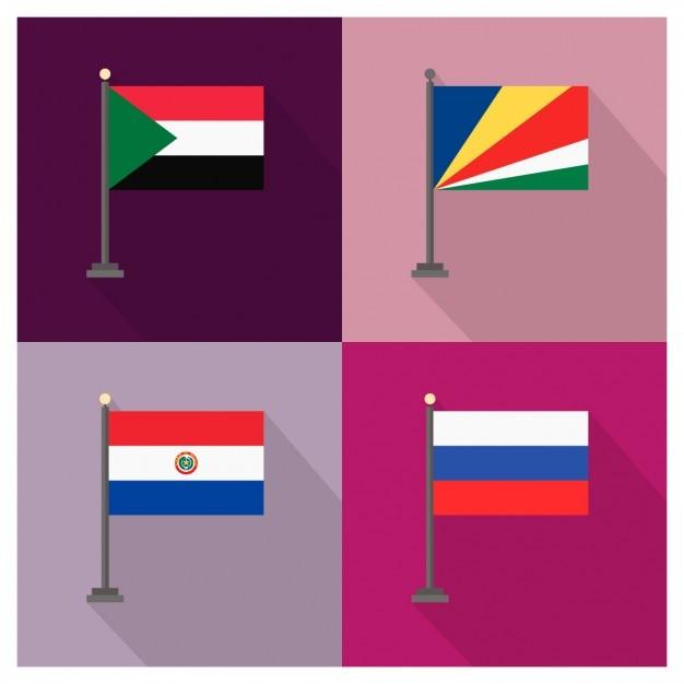 Sudan Seychelles Paraguay und Russland Flaggen Kostenlose Vektoren