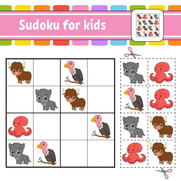 Sudoku für kinder. arbeitsblatt zur bildungsentwicklung. aktivitätsseite mit bildern. puzzlespiel für kinder. . Premium Vektoren