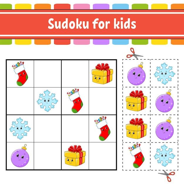 Sudoku für kinder. arbeitsblatt zur bildungsentwicklung. aktivitätsseite mit bildern. puzzlespiel für kinder. Premium Vektoren