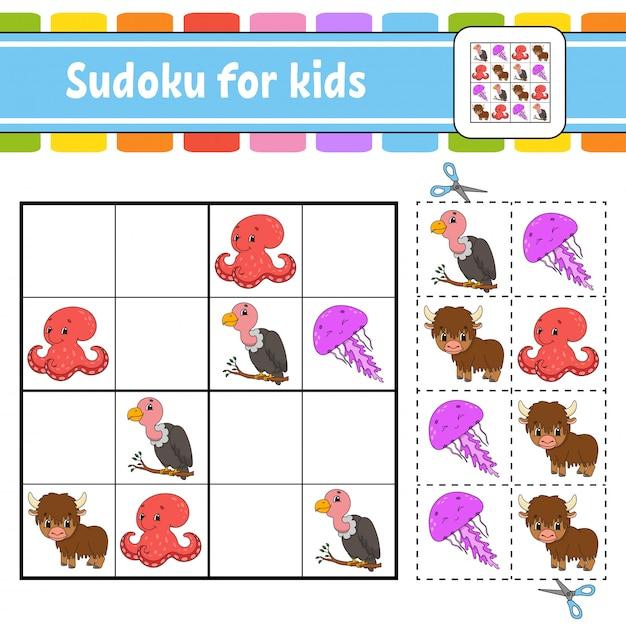 Sudoku für kinder. arbeitsblatt zur bildungsentwicklung. aktivitätsseite mit bildern. Premium Vektoren