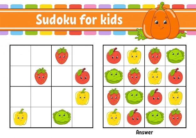 Sudoku für kinder. arbeitsblatt zur bildungsentwicklung. gemüse, obst. Premium Vektoren