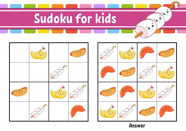 Sudoku für kinder. arbeitsblatt zur bildungsentwicklung. zeichentrickfigur. Premium Vektoren