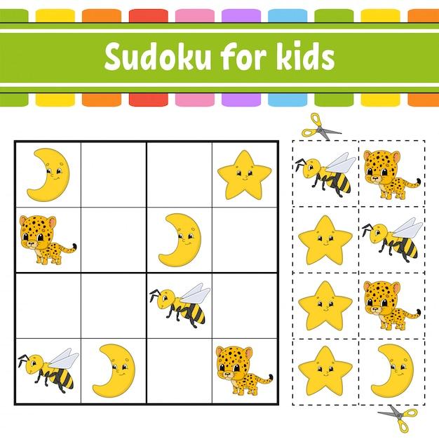 Sudoku für kinder, arbeitsblatt zur bildungsentwicklung, Premium Vektoren