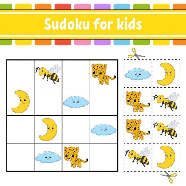 Sudoku für kinder. arbeitsblatt zur bildungsentwicklung. Premium Vektoren