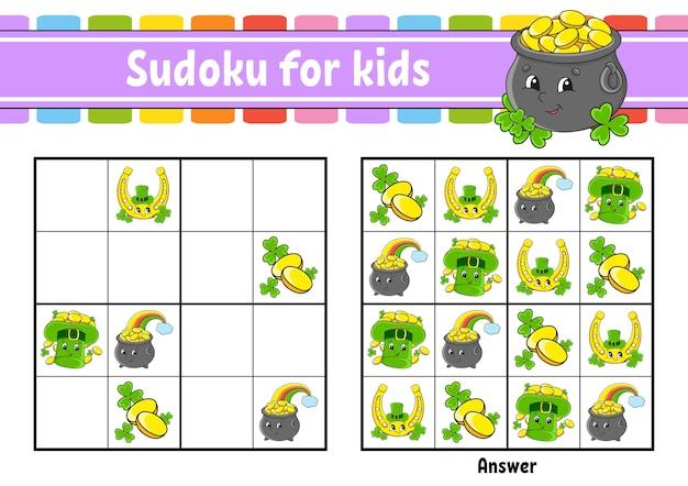 Sudoku für kinder bildungsarbeitsblatt Premium Vektoren