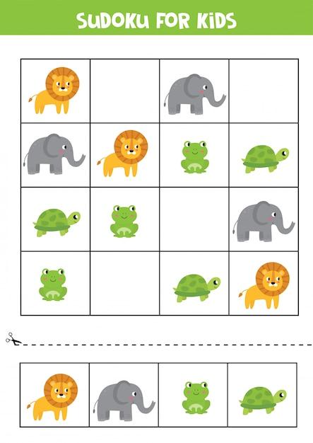 Sudoku für kinder. karten mit elefant, löwe, schildkröte, frosch. Premium Vektoren