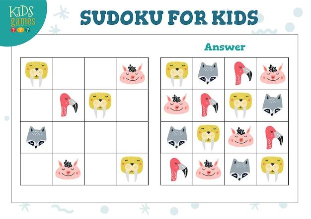 Sudoku für kinder lernspiel. labyrinth logische aktivität mit antwort Premium Vektoren