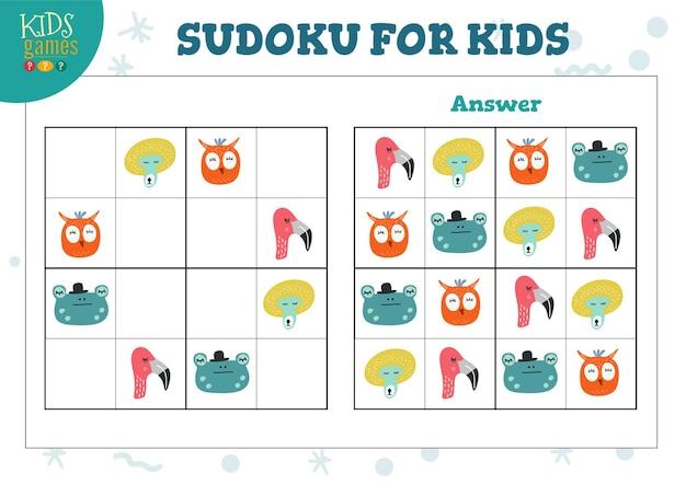 Sudoku für kinder mit antwortillustration. Premium Vektoren