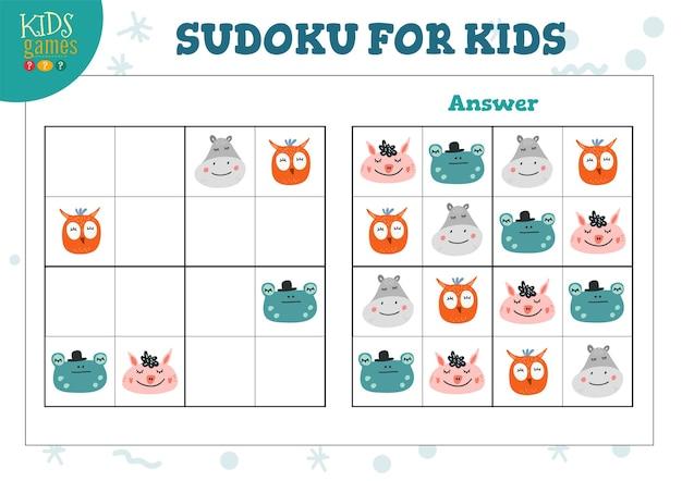 Sudoku für kinder mit antwortillustration Premium Vektoren