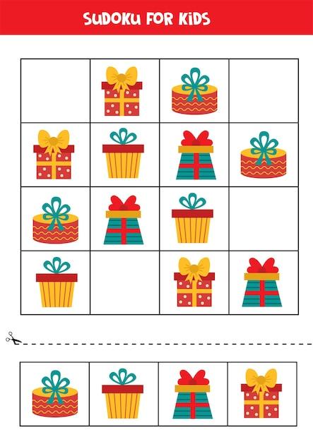 Sudoku für kinder mit bunten weihnachtsboxen. pädagogisches logisches spiel für kinder. Premium Vektoren