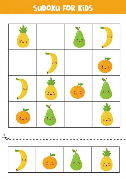 Sudoku für kinder mit niedlichen kawaii früchten. Premium Vektoren