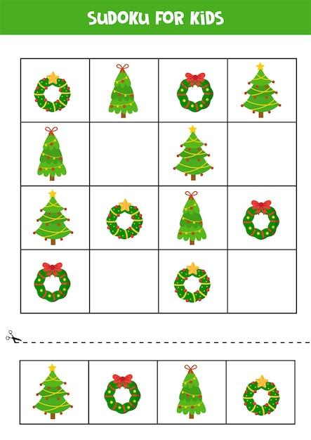 Sudoku für kinder mit weihnachtskränzen und tannen Premium Vektoren