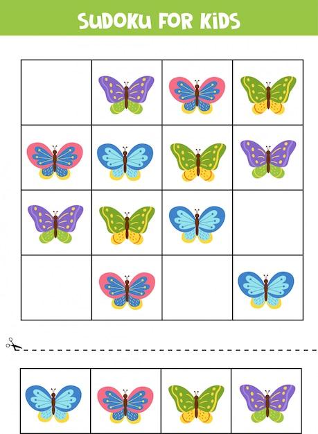Sudoku für kinder. nette schöne schmetterlinge. Premium Vektoren