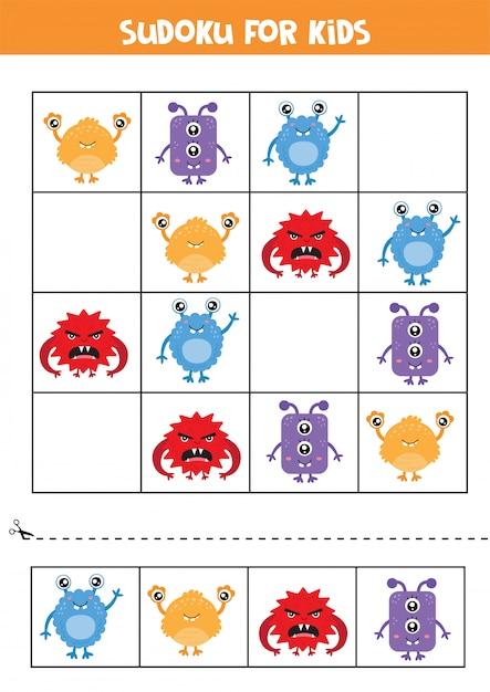 Sudoku für kinder. niedliche bunte monsterkarten. Premium Vektoren