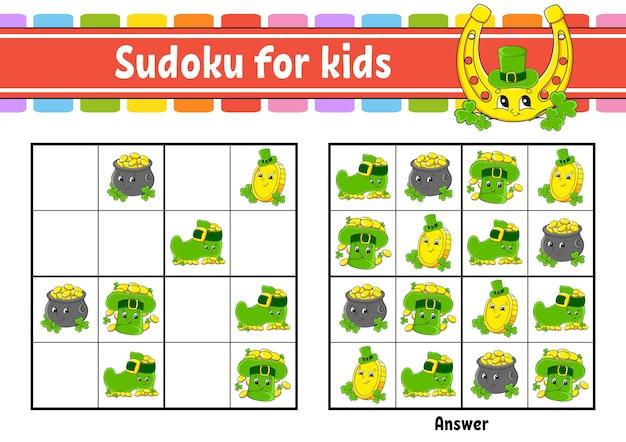 Sudoku für kinder. st. patrick's day. Premium Vektoren