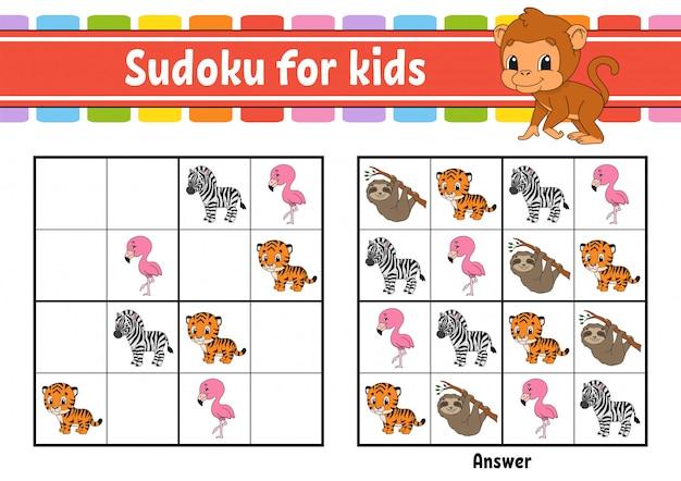 Sudoku für kinder. Premium Vektoren