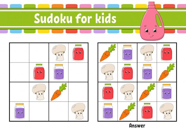 Sudoku kindliche aktivitäten Premium Vektoren