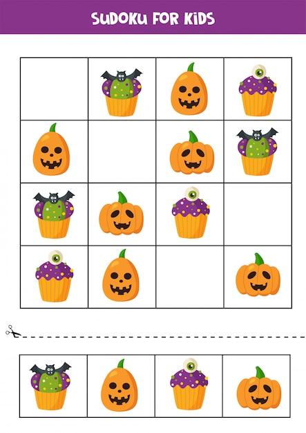 Sudoku logisches spiel mit halloween cupcakes und kürbissen. Premium Vektoren