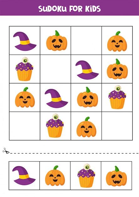 Sudoku logisches spiel mit niedlichen halloween-elementen. Premium Vektoren