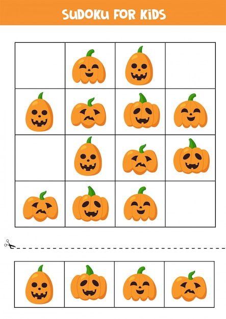 Sudoku logisches spiel mit niedlichen halloween-kürbissen. Premium Vektoren
