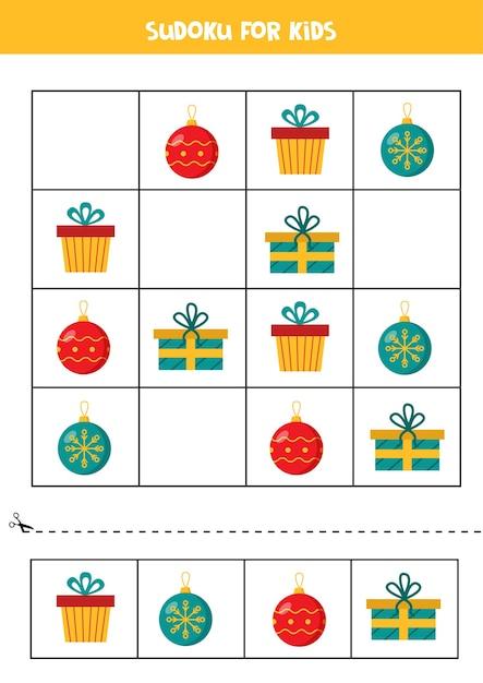 Sudoku mit bunten weihnachtskugeln und geschenkboxen Premium Vektoren