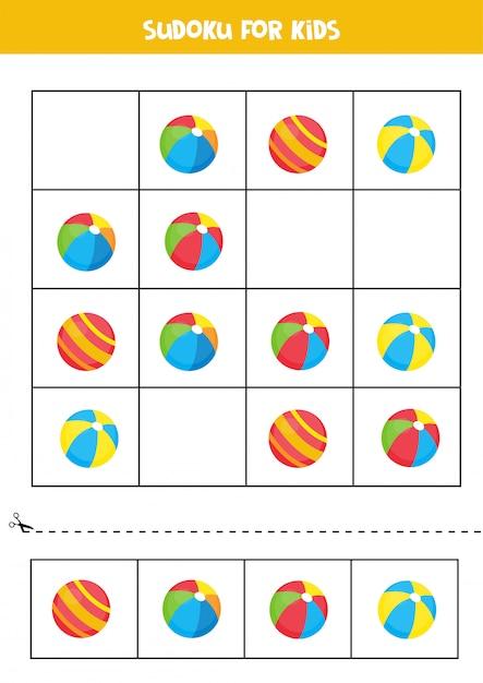 Sudoku mit niedlichen cartoonspielzeugkugeln. spiel für kinder. Premium Vektoren