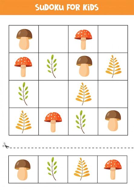 Sudoku-puzzle für kinder. satz herbstblätter und pilze. Premium Vektoren