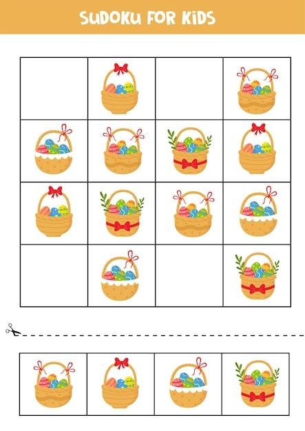 Sudoku-puzzlespiel mit cartoon-osterkörben mit eiern und blumen. Premium Vektoren