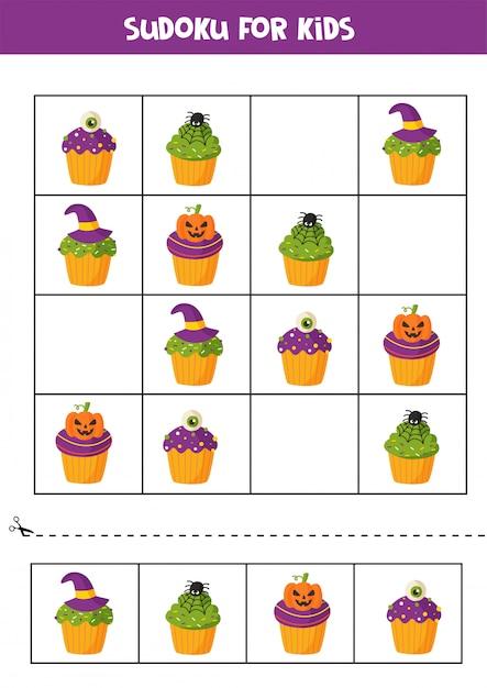 Sudoku-puzzlespiel mit gruseligen halloween-cupcakes. Premium Vektoren