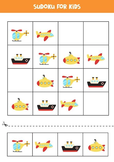 Sudoku-spiel für kinder im vorschulalter. logisches spiel mit transport. Premium Vektoren
