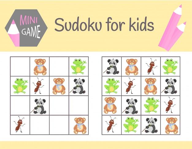 Sudoku-spiel für kinder mit bildern und tieren. Premium Vektoren
