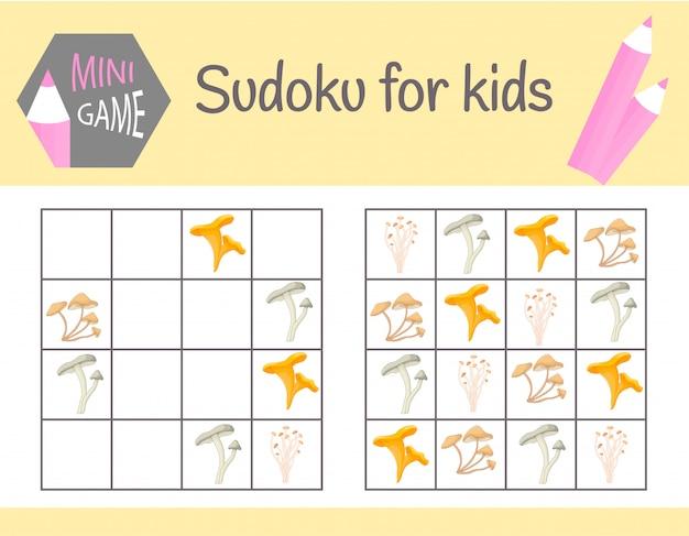 Sudoku-spiel für kinder mit bildern und tieren Premium Vektoren