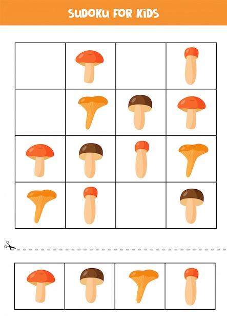 Sudoku-spiel für kinder. niedliche karikaturpilze. Premium Vektoren