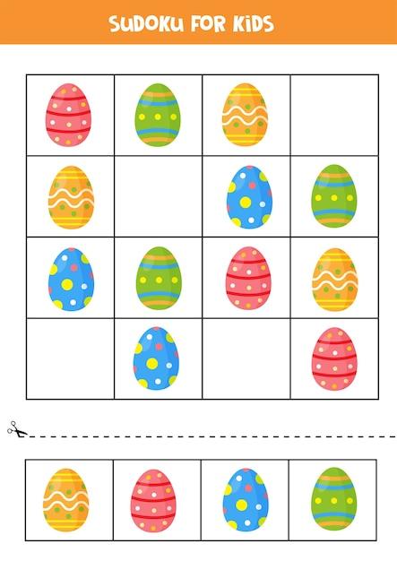 Sudoku-spiel mit bunten ostereiern. pädagogisches logisches spiel für kinder. Premium Vektoren