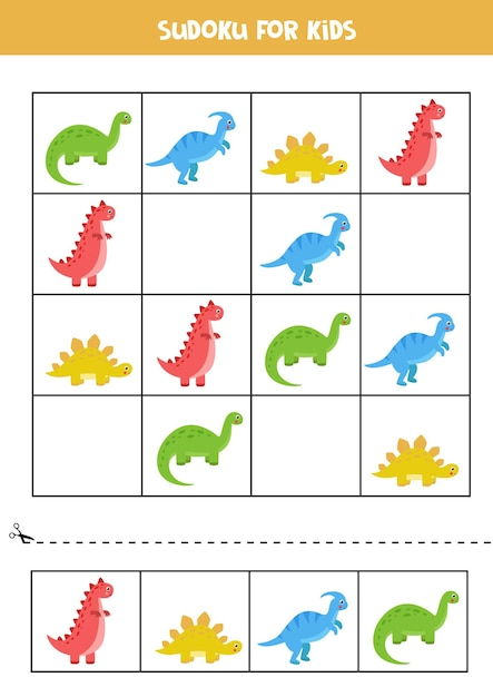 Sudoku-spiel mit satz niedlicher cartoon-dinosaurier. lernpuzzle für kinder. Premium Vektoren