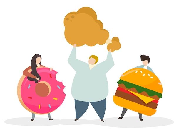 Süchtig nach junk food und snacks Kostenlosen Vektoren