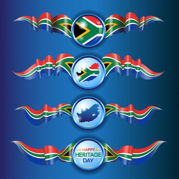 Südafrikanische flaggenbänder Premium Vektoren