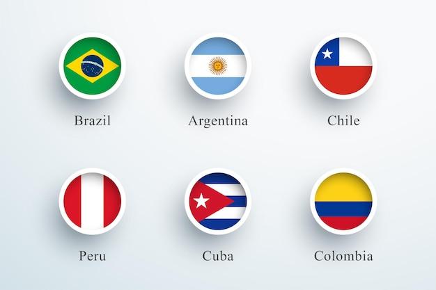 Südamerika flaggen set runde 3d button circle icons Premium Vektoren