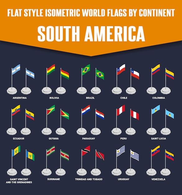 Südamerika land flat style isometrische flaggen Premium Vektoren
