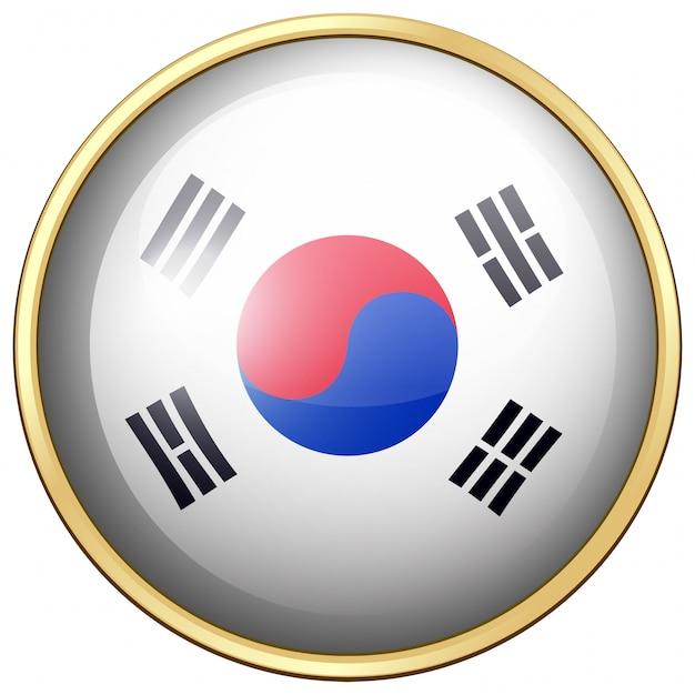Südkorea flagge auf runden knopf Kostenlosen Vektoren