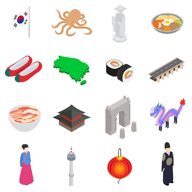 Südkorea-ikonen stellten in die isometrische art 3d ein, die auf weißem hintergrund lokalisiert wurde Premium Vektoren