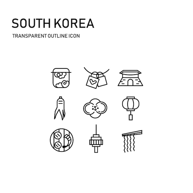Südkorea-ikonenentwurf mit transparenter dünner linie Premium Vektoren