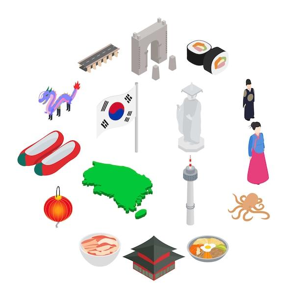 Südkorea-ikonensatz, isometrische art Premium Vektoren