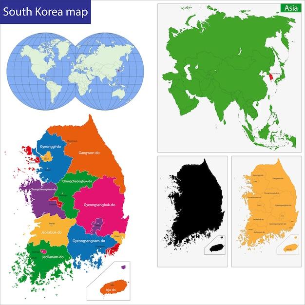 Südkorea Karte.Südkorea Karte Download Der Premium Vektor